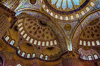 Fine Art, Travel Photograph of the interior of the Sultan Ahmed Mosque also known as the Blue Mosque in Istanbul Turkey.