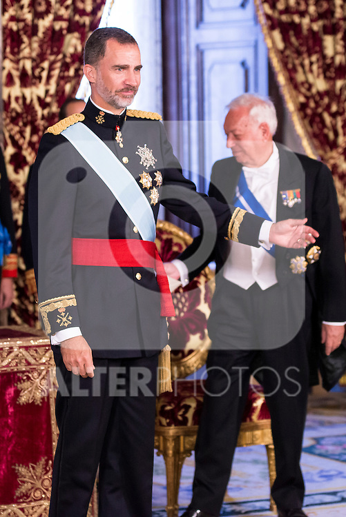 Ambassador of Costa Rica, SRA. Doris Osterlof Obregón present his credentials to King Felipe VI of Spain during royal audiences at Real Palace in Madrid, July 27, 2015. <br /> (ALTERPHOTOS/BorjaB.Hojas)