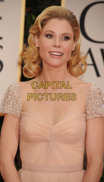 Julie Bowen.Arrivals at the 69th Annual Golden Globe Awards at The Beverly Hilton Hotel, Beverly Hills, California, USA..January 15th, 2012.globes half length dress beige nude beads beaded silver shoulders sleeves .CAP/GDG.©GDG/Capital Pictures