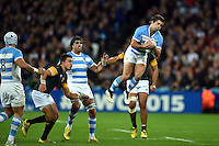 Santiago Cordero of Argentina claims the ball in the air. Rugby World Cup Bronze Final between South Africa and Argentina on October 30, 2015 at The Stadium, Queen Elizabeth Olympic Park in London, England. Photo by: Patrick Khachfe / Onside Images
