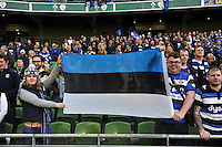 Bath Rugby fans in the crowd show their support after the match. European Rugby Champions Cup quarter final, between Leinster Rugby and Bath Rugby on April 4, 2015 at the Aviva Stadium in Dublin, Republic of Ireland. Photo by: Patrick Khachfe / Onside Images