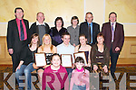WELL WISHERS: Wishing Mairead O'Driscoll, Donie O'Sullivan and Aoife Musgrave well as they were presented with Youth Merit Awards at the Garda Youth Awards night at the Brandon Hotel, Tralee, on Friday, sponsored by Lee Strand. Front l-r: Sinead and Kerry Sullivan. Seated l-r: Clodagh Musgrave, Mairead O'Driscoll, Donie O'Sullivan, Aoife Musgrave and Ann Marie Musgrave. Back l-r: Francis O'Driscoll, Donal O'Sullivan, Noreen O'Sullivan, Margaret O'Driscoll, Jimmy Musgrave and John O'Connor..