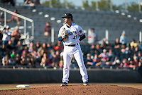 Peoria Javelinas relief pitcher Daniel Brown (49), of the Milwaukee Brewers organization, looks in for the sign during the Arizona Fall League Championship Game against the Salt River Rafters at Scottsdale Stadium on November 17, 2018 in Scottsdale, Arizona. Peoria defeated Salt River 3-2 in 10 innings. (Zachary Lucy/Four Seam Images)