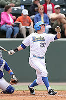Jeff Gelalich #20 of the UCLA Bruins bats against the Cal. St. Bakersfield Roadrunners at Jackie Robinson Stadium in Los Angeles,California on May 14, 2011. Photo by Larry Goren/Four Seam Images