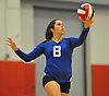 Shelter Island No. 8 Kenna McCarthy serves during the Suffolk County varsity girls' volleyball Class D final against Pierson at Suffolk Community College Grant Campus on Monday, November 9, 2015. Shelter Island won 25-9, 25-4, 25-13.