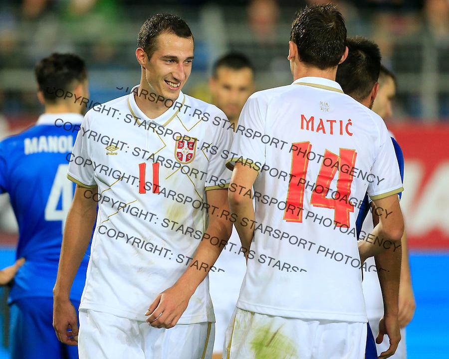 Fudbal<br /> Prijateljski mec-Friendly match<br /> Srbija v Grcka<br /> Radosav Petrovic (L) and Nemanja Matic<br /> Chania, 17.11.2014.<br /> foto: Srdjan Stevanovic/Starsportphoto &copy;