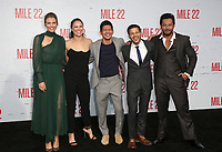 "WESTWOOD, CA - AUGUST 9: Lauren Cohan, Ronda Rousey, Iko Uwais, Carlo Alban, Sam Medina, at Premiere Of STX Films' ""Mile 22"" at The Regency Village Theatre in Westwood, California on August 9, 2018. Credit: Faye Sadou/MediaPunch"