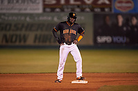 San Jose Giants designated hitter Jean Angomas (46) during a California League game against the Visalia Rawhide on April 12, 2019 at San Jose Municipal Stadium in San Jose, California. Visalia defeated San Jose 6-2. (Zachary Lucy/Four Seam Images)