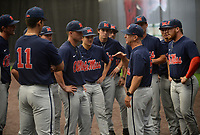 NWA Democrat-Gazette/ANDY SHUPE<br /> Ole Miss coach Mike Bianco speaks to his players Friday, June 7, 2019, during practice in The Fowler Family Baseball and Track Training Center ahead of today's NCAA Super Regional game at Baum-Walker Stadium in Fayetteville. Visit nwadg.com/photos to see more photographs from the practices.