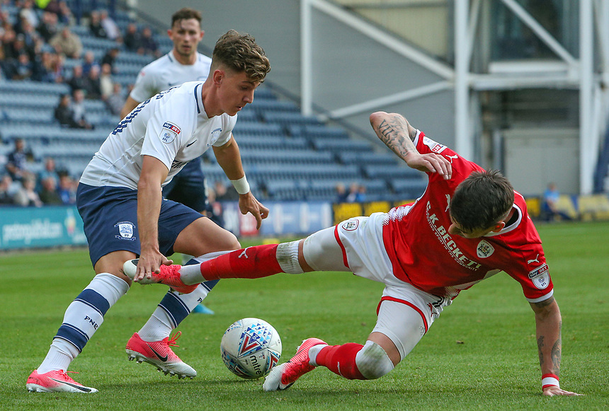 Preston North End's Josh Harrop tricks his way past Barnsley's Adam Hammill<br /> <br /> Photographer Alex Dodd/CameraSport<br /> <br /> The EFL Sky Bet Championship - Preston North End v Barnsley - Saturday 9th September 2017 - Deepdale Stadium - Preston<br /> <br /> World Copyright &copy; 2017 CameraSport. All rights reserved. 43 Linden Ave. Countesthorpe. Leicester. England. LE8 5PG - Tel: +44 (0) 116 277 4147 - admin@camerasport.com - www.camerasport.com