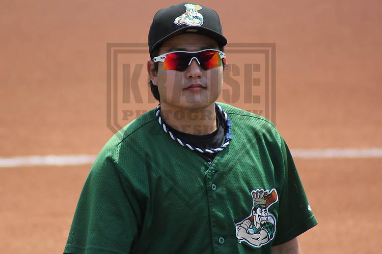 CEDAR RAPIDS - June 2012: Ji-Man Choi (48) of the Clinton LumberKings, Class-A affiliate of the Seattle Mariners, during a game against the Cedar Rapids Kernels on June 11, 2012 at Perfect Game Field at Veterans Memorial Stadium in Cedar Rapids, Iowa. (Photo by Brad Krause). ..