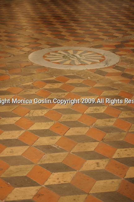 Stone floor inside the church of San Giovanni Evangelista in Parma, Italy.