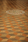 Stone floor inside the church of San Giovanni Evangelista in Parma, Italy.