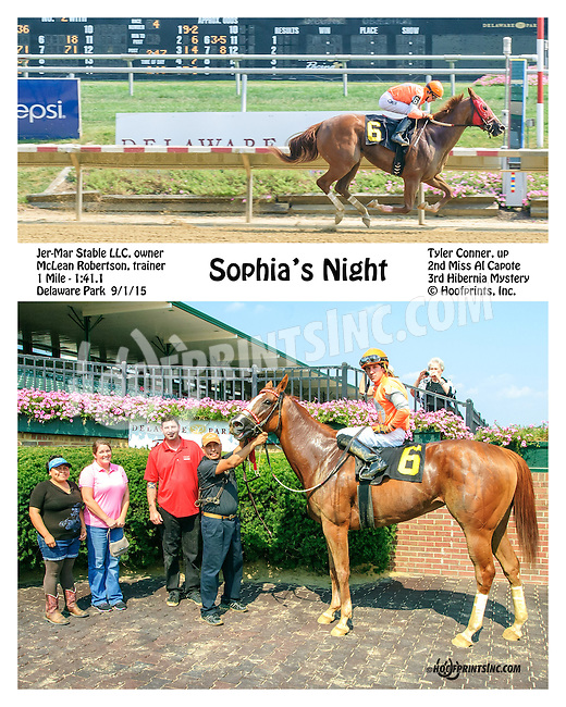 Sophia's Night winning at Delaware Park on 9/1/15