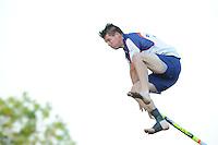 FIERLJEPPEN: IJLST: Watte Abma Skânsen, 05-06-2013, Fierljepferiening Drylts e.o., 1e Klas wedstrijd, Senioren Topklasse, Thomas Helmholt (#141), ©foto Martin de Jong