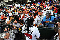Jun. 23, 2009; Albuquerque, NM, USA; Albuquerque Isotopes outfielder Manny Ramirez signs autographs prior to the game against the Nashville Sounds at Isotopes Stadium. Ramirez is playing in the minor leagues while suspended for violating major league baseballs drug policy. Mandatory Credit: Mark J. Rebilas-