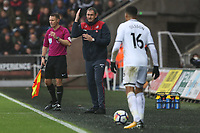 Swansea City manager Paul Clement shouts to Martin Olsson of Swansea City during the Premier League match between Swansea City and Leicester City at The Liberty Stadium, Swansea, Wales, UK. Saturday 21 October 2017