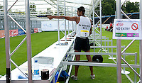 13 AUG 2009 - LONDON, GBR - Omar El Geziry (EGY) becomes the first competitor to experience the new run / shoot format during a World Championships at the Mens World Modern Pentathlon Championship Qualifiers at Crystal Palace, London, Great Britain (PHOTO (C) NIGEL FARROW)