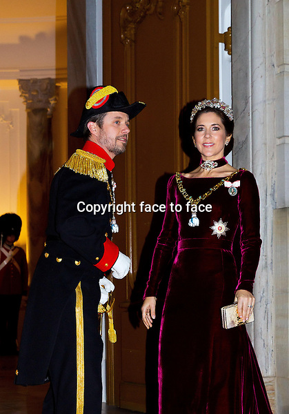 01-01-2014 Amalienborg Princess Mary and Prince Frederik at the New Years reception at Amalienborg in Copenhagen.<br />
