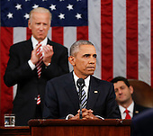 Vice President Joe Biden applauds as Speaker Paul Ryan of Wisconsin listens to President Barack Obama' s State of the Union address before a joint session of Congress on Capitol Hill in Washington, Tuesday, Jan. 12, 2016. <br /> Credit: Evan Vucci / Pool via CNP