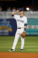 Charlotte Stone Crabs second baseman Justin Bridgman (24) during a game against the Palm Beach Cardinals on April 20, 2018 at Charlotte Sports Park in Port Charlotte, Florida.  Charlotte defeated Palm Beach 4-3.  (Mike Janes/Four Seam Images)