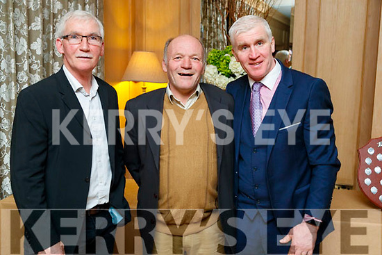 Redmond O'Connor, Diarmuid Ó Ciardubháin and Maurice Costello, enjoying the Cordal GAA social at Ballygarry House Hotel & Spa, Tralee, on Saturday night last.
