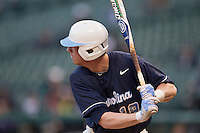North Carolina Tar Heels third baseman Colin Moran #18 at bat during the NCAA baseball game against the Rice Owls on March 1st, 2013 at Minute Maid Park in Houston, Texas. North Carolina defeated Rice 2-1. (Andrew Woolley/Four Seam Images).
