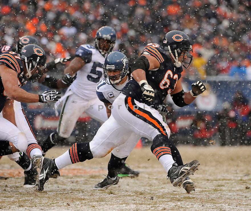ROBERTO GARZA, of the Chicago Bears in action durIng the Bears game against the Seattle Seahawks at Soldier Field on January 16, 2011 in Chicago, IL.. .Bears beat the Seahawks 35-24