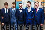 Attending the Mercy Mounthawk debs in the Ballyroe Heights Hotel on Thursday night last, l to r, Jack Lynch (Lyra), Tomas Sheehy (Ballyard), Kieran Reilly (Mounthawk), Thomas Healy (Ballyheigue), Owen O' Buichalla (Ballyard).