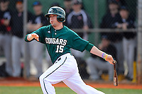 Chicago State University Cougars outfielder Jake Peltz #15 during a game against the Muskingum Fighting Muskies at South County Regional Park on March 3, 2013 in Punta Gorda, Florida.  (Mike Janes/Four Seam Images)
