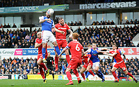 Ipswich Town's Luke Chambers battles with Nottingham Forest's Jo&atilde;o Carvalho<br /> <br /> Photographer Hannah Fountain/CameraSport<br /> <br /> The EFL Sky Bet Championship - Ipswich Town v Nottingham Forest - Saturday 16th March 2019 - Portman Road - Ipswich<br /> <br /> World Copyright &copy; 2019 CameraSport. All rights reserved. 43 Linden Ave. Countesthorpe. Leicester. England. LE8 5PG - Tel: +44 (0) 116 277 4147 - admin@camerasport.com - www.camerasport.com