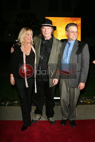 """Pegi Young with Neil Young and Jonathan Demme<br />at the premiere of """"Neil Young: Heart of Gold"""". Paramount Theater, Los Angeles, CA 02-07-06<br />Dave Edwards/DailyCeleb.com 818-249-4998"""