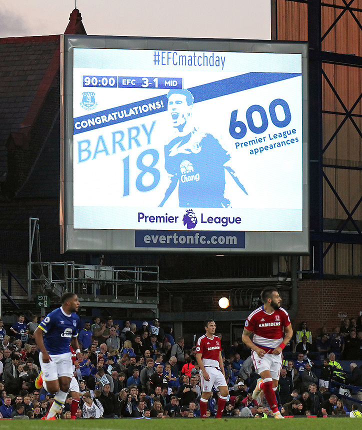 The big screen displays a message congratulating Everton's Gareth Barry on 600 club appearances  <br /> <br /> Photographer Rich Linley/CameraSport<br /> <br /> The Premier League - Everton v Middlesbrough - Saturday 17th September 2016 - Goodison Park - Liverpool<br /> <br /> World Copyright &copy; 2016 CameraSport. All rights reserved. 43 Linden Ave. Countesthorpe. Leicester. England. LE8 5PG - Tel: +44 (0) 116 277 4147 - admin@camerasport.com - www.camerasport.com