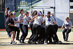 21 MAY 2016:  The University of North Alabama celebrates their victory over Humboldt State University during the Division II Women's Softball Championship held at the Regency Athletic Complex on the Metro State University campus in Denver, CO.  North Alabama defeated Humboldt State 4-1 to win the national title.  Jamie Schwaberow/NCAA Photos
