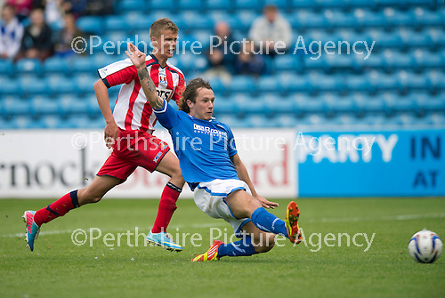 Kilmarnock v St Johnstone...11.08.13 SPFL<br /> Stevie May puts his shot straight into the arms of Craig Samson<br /> Picture by Graeme Hart.<br /> Copyright Perthshire Picture Agency<br /> Tel: 01738 623350  Mobile: 07990 594431