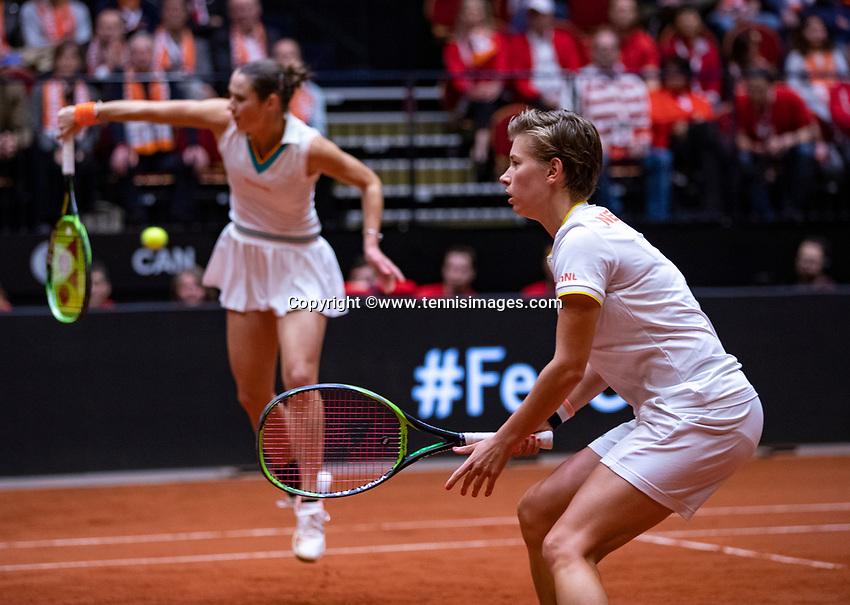 Den Bosch, The Netherlands, Februari 10, 2019,  Maaspoort , FedCup  Netherlands - Canada, doubles match Sunday : Demi Schuurs (R) and Bibiane Schoofs (NED)<br /> Photo: Tennisimages/Henk Koster