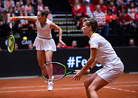 Den Bosch, The Netherlands, Februari 10, 2019,  Maaspoort , FedCup  Netherlands - Canada, doubles match Sunday : Demi Schuurs (R) and Bibiane Schoofs (NED)<br /> Photo: Tennisimages/Henk Koster