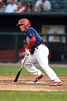 Memphis Redbirds outfielder Thomas Pham (27) at bat during a game against the Oklahoma City RedHawks on May 23, 2014 at AutoZone Park in Memphis, Tennessee.  Oklahoma City defeated Memphis 12-10.  (Mike Janes/Four Seam Images)