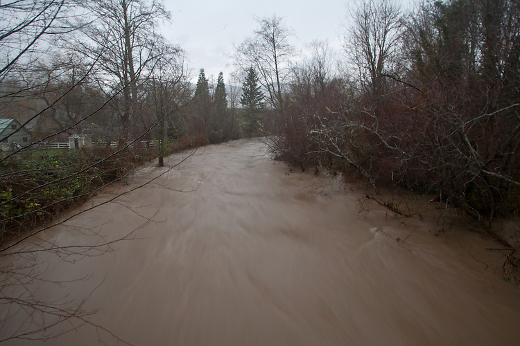 Big Quilcene River, Linger Longer Road, Quilcene, Jefferson County, Olympic Peninsula, Washington State, Heavy Rain in the Olympic Mountains causes neighborhood flooding along the Big Quilcene River, December 11, 2014,