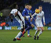 Cardiff City's Callum Paterson under pressure from Bolton Wanderers' Sammy Ameobi and Josh Vela<br /> <br /> Photographer Kevin Barnes/CameraSport<br /> <br /> The EFL Sky Bet Championship - Cardiff City v Bolton Wanderers - Tuesday 13th February 2018 - Cardiff City Stadium - Cardiff<br /> <br /> World Copyright &copy; 2018 CameraSport. All rights reserved. 43 Linden Ave. Countesthorpe. Leicester. England. LE8 5PG - Tel: +44 (0) 116 277 4147 - admin@camerasport.com - www.camerasport.com