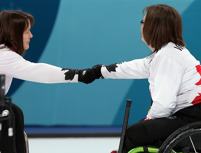 Pyeongchang, Korea, 12/march/2018-Marie Wright,  Ina Forrest compete in wheelchair curling during the 2018 Paralympic Games in PyeongChang. Photo Scott Grant/Canadian Paralympic Committee.