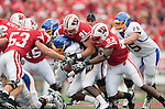 Wisconsin Badgers defense tackles San Jose State Spartans running back David Freeman (20) during an NCAA college football game on September 11, 2010 at Camp Randall Stadium in Madison, Wisconsin. The Badgers beat San Jose State 27-14. (Photo by David Stluka)