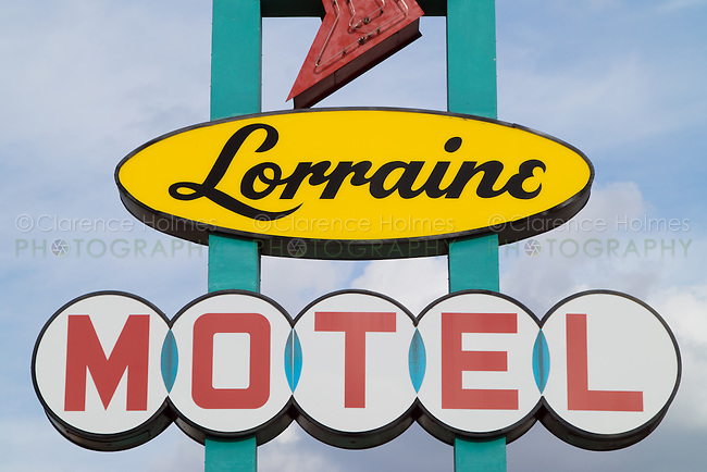 A sign for the Lorraine Motel, site of the National Civil Rights Museum in the historic district of Memphis, Tennessee