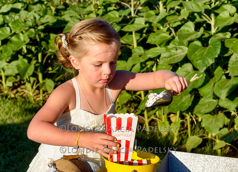 Little girl getting popcorn at a wedding at Avila Valley Barn