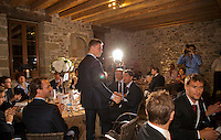 Switserland, Genève, September 16, 2015, Tennis,   Davis Cup, Switserland-Netherlands, location of the official diner, Domaine du Clos Du Chateau,  Tim van Rijthoven is being presented<br /> Photo: Tennisimages/Henk Koster