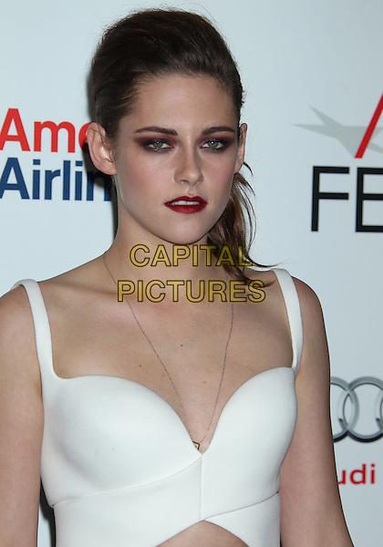 Kristen Stewart.'On The Road' gala screening, 2012 AFI FEST, Grauman's Chinese Theatre, Hollywood, California, USA..3rd November 2012 .half length white top headshot portrait eyeshadow make-up red lipstick .CAP/ADM/RE.©Russ Elliot/AdMedia/Capital Pictures.
