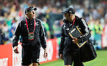 Coach Gordon Tietjens (L) and Manager Ross Everiss. Hong Kong Sevens, 27 March 2015. NZ beat Scotland in game one 26-7. Photo: Marc Weakley