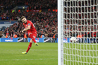 Adam Lallana of Liverpool takes his penatly in a shoot out against Manchester City, only to see it saved, during the Capital One Cup match between Liverpool and Manchester City at Wembley Stadium, London, England on 28 February 2016. Photo by David Horn / PRiME Media Images.