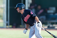 AZL Indians 1 designated hitter Bryan Lavastida (11) starts down the first base line during an Arizona League game against the AZL Cubs 1 at Sloan Park on August 27, 2018 in Mesa, Arizona. The AZL Cubs 1 defeated the AZL Indians 1 by a score of 3-2. (Zachary Lucy/Four Seam Images)