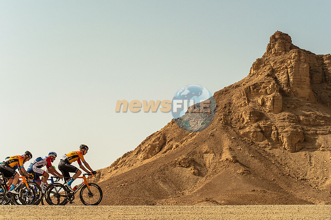 Marcel Sieberg (GER) and Bahrain-Mclaren on the front of the peloton during Stage 4 of the Saudi Tour 2020 running 137km from Wadi Namar Park to Al Muzahimiyah King Saud University, Saudi Arabia. 7th February 2020. <br /> Picture: ASO/Kåre Dehlie Thorstad | Cyclefile<br /> All photos usage must carry mandatory copyright credit (© Cyclefile | ASO/Kåre Dehlie Thorstad)